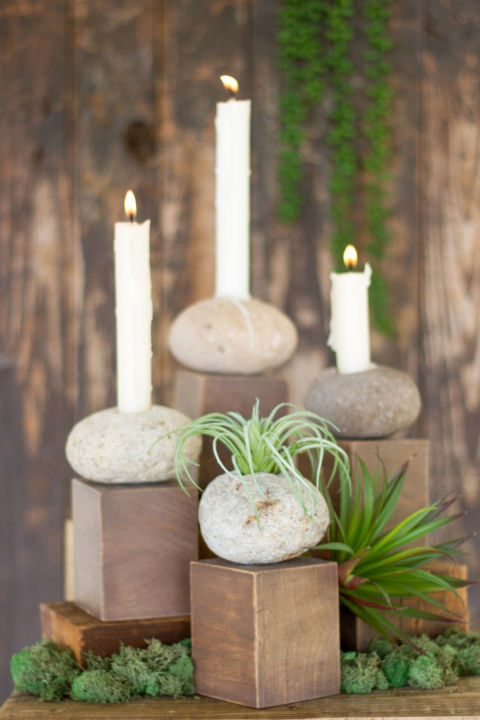 Kalalou River Stone Air Plant or Candle Holder on Wood
