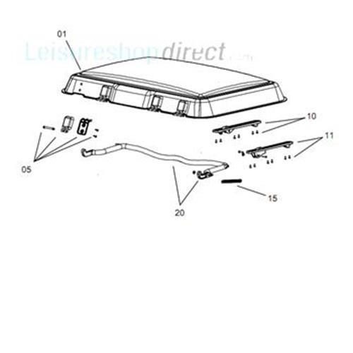 Dometic Midi Heki Glazing Panel with Assembly Parts (crank