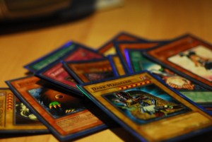 A pile of Yu-Gi-Oh! Cards, sleeved and ready to be put into a deck
