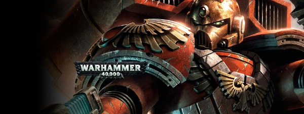Close up of Space Marine with the Warhammer 40,000 Miniatures Game logo