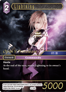 Lightning, a specially printed card for entering the Opus V Prerelease at Leisure Time Games.