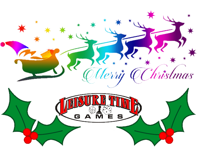 Rainbow image of santa and reindeer with the Leisure Time Games logo used for the 12 Days Of Christmas Sale