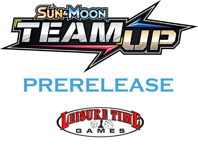 Pokemon Sun And Moon Team Up logo with the Leisure Time Games logo used for the Pokemon Sun And Moon Team Up Prerelease