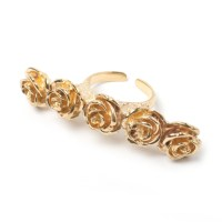 Flora Knuckle Ring - Gold - LEIVANKASH - Jewellery