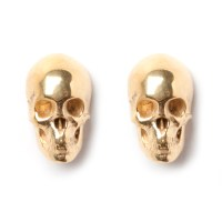 Skull Stud Earrings - Gold - LEIVANKASH - Jewellery