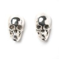 Skull Earring Studs 18ct White Gold Diamond 0 51ct Black ...