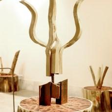 Cabiró de fusta i perfil metàl·lic de rebuig 37 x 37 x 60 cm