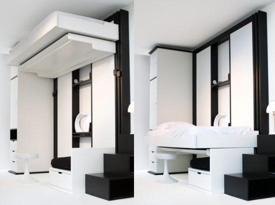 des lits qui montent au plafond le