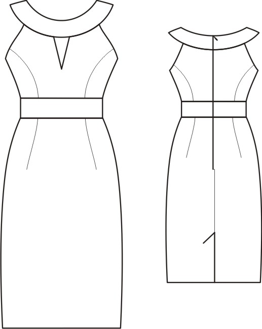 S4003 Dress With High Waist, Contrasting Collar And