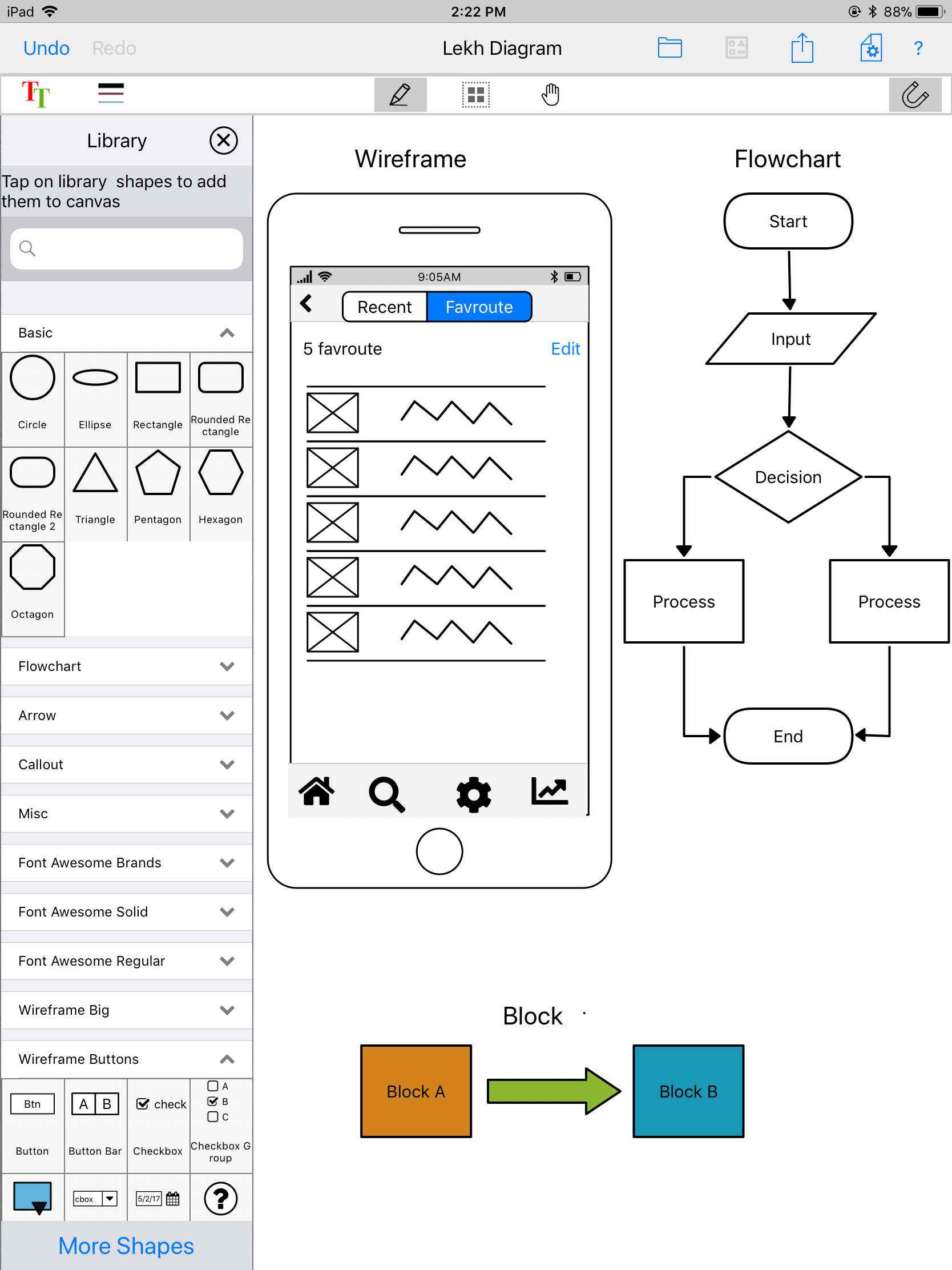 hight resolution of create beautiful diagrams and ui wireframes with lekh diagram a sketch recognition diagramming app on ios and android devices