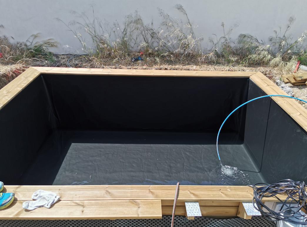 piscine bois hors sol rectangulaire luxe 420 x 320 x 131 cm liner noir