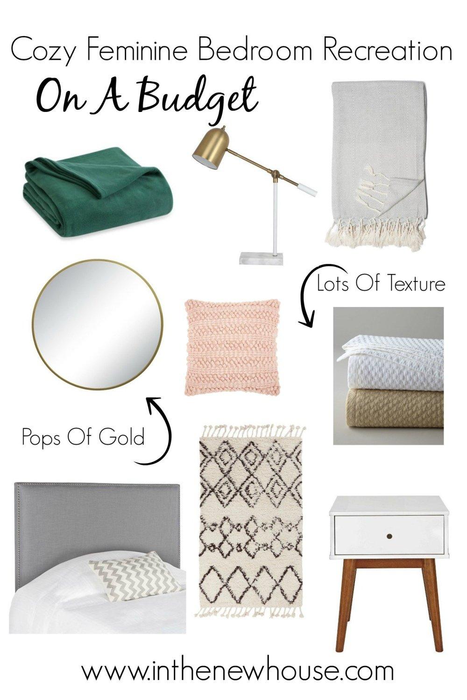 budget feminine bedroom styling