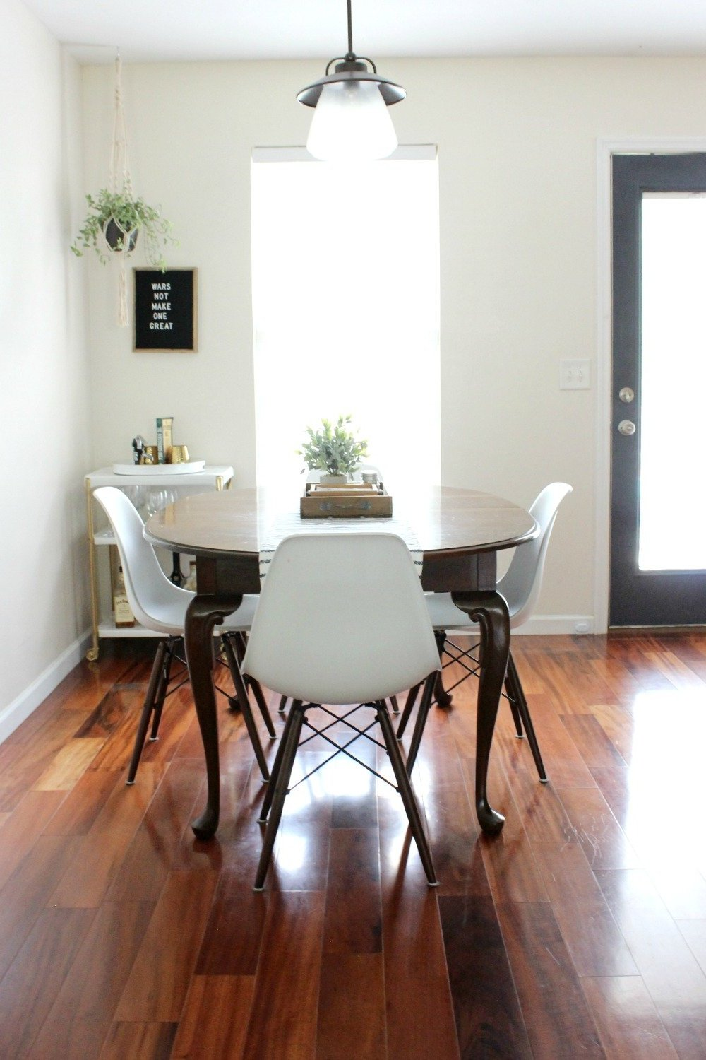 white modern open dining room