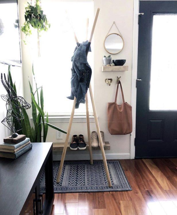 wooden coat hanger and shelf styling