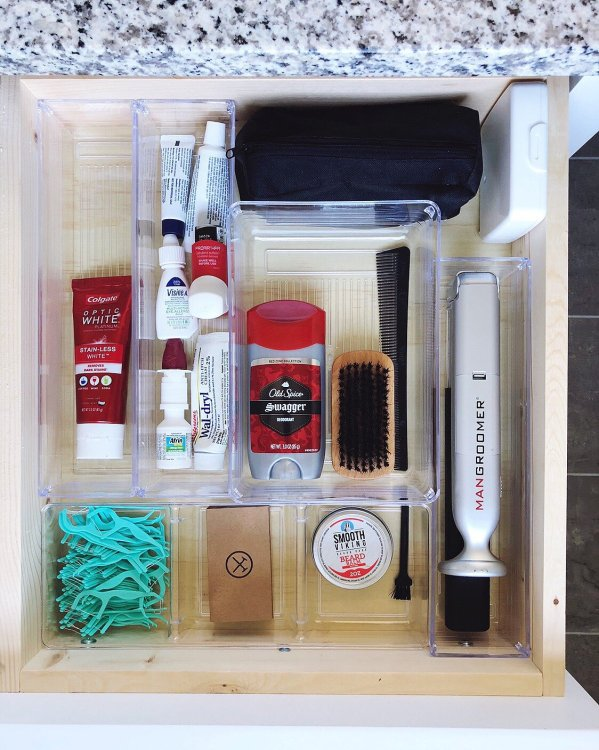 mans bathroom organization drawer for him