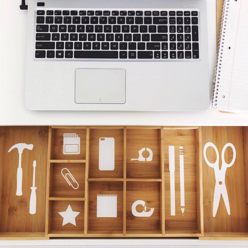 Lela Burris organized desk drawer with labels