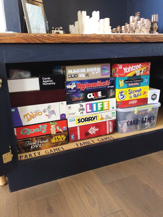 how to sort, organize, and store board games