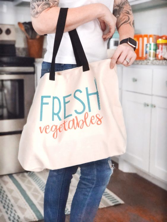 cricut fresh vegetables grocery bag by Lela Burris