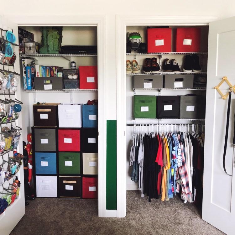 kids bedroom closet organization with storage cubes
