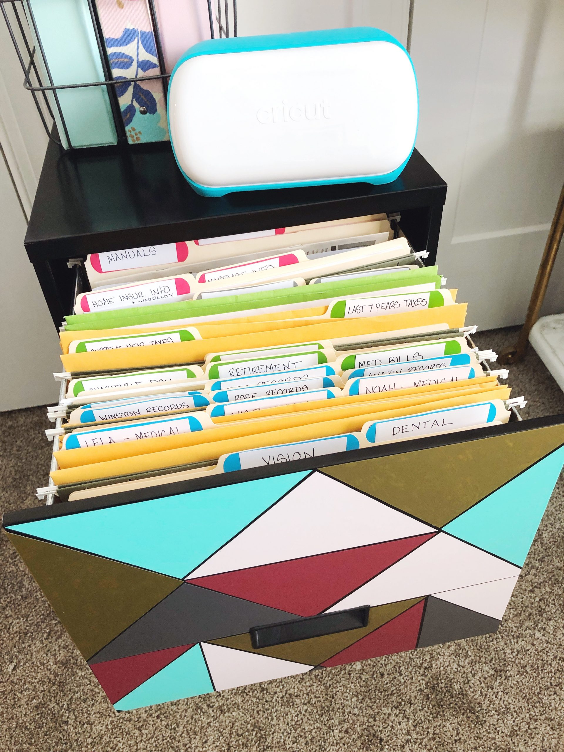 Filing Cabinet Organization Makeover With Cricut Vinyl Organized Ish By Lela Burris