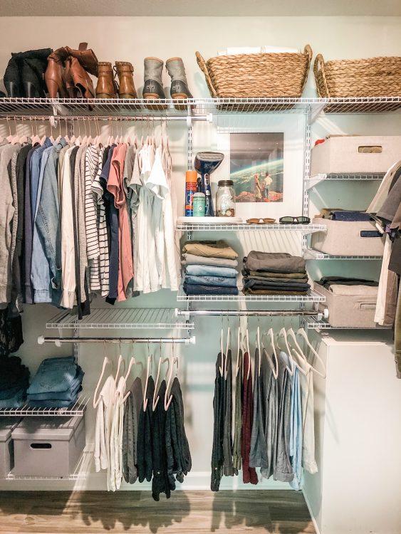 closet organization with adjustable shelving