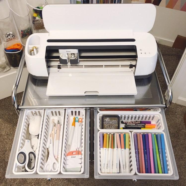cricut pen storage in craft cart