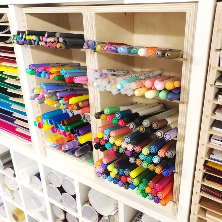 cricut pens and markers in cube shelving