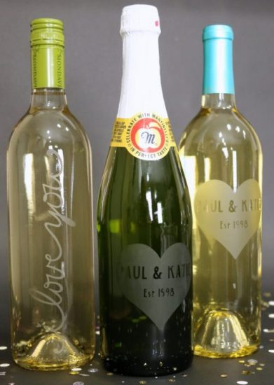 etched wine bottle with cricut vinyl from the crafty blog stalker