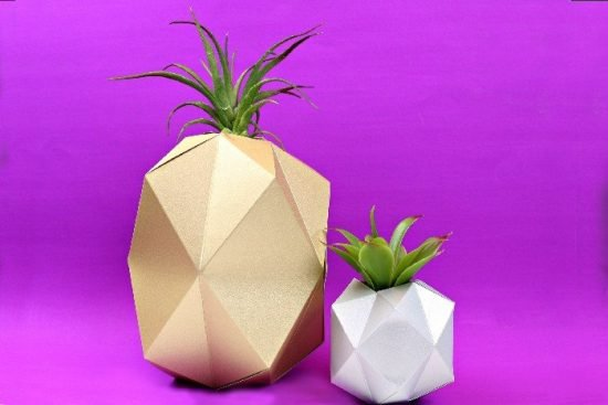 geometric paper planters from mad in crafts