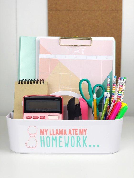 kids homework caddy idea