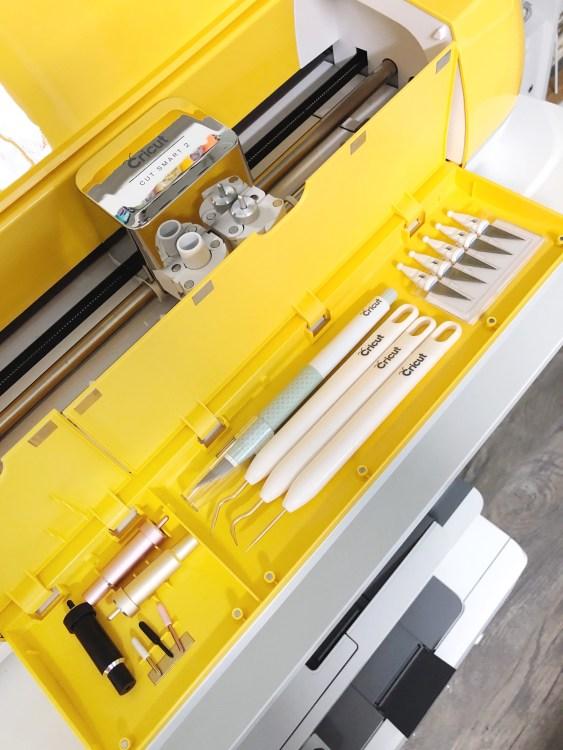 yellow cricut explore air 2 storage tips