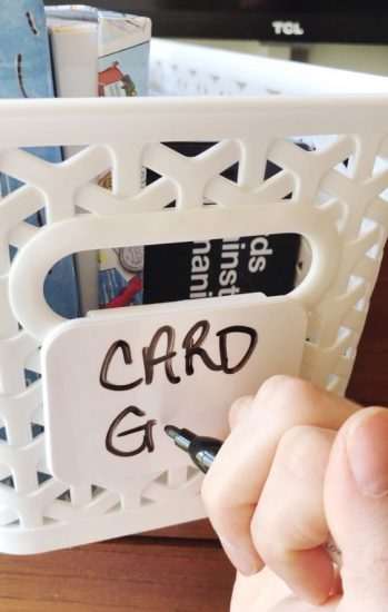 dry erase basket labels for organizing tv cabinet