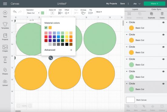 cricut design space material color