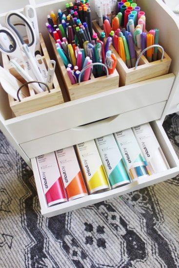 Cricut Joy craft storage cart with drawers