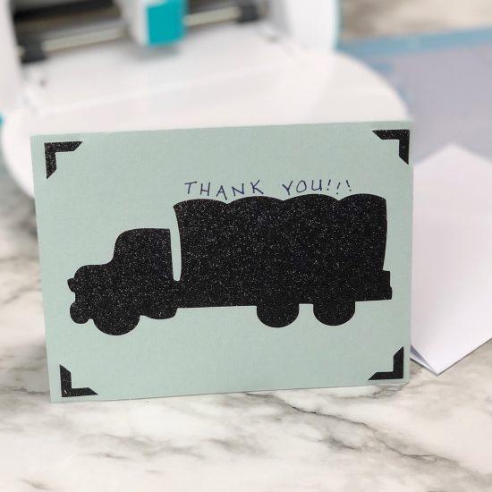 trash pickup thank you card Cricut Joy