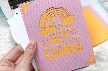rainbow thank you card cricut joy