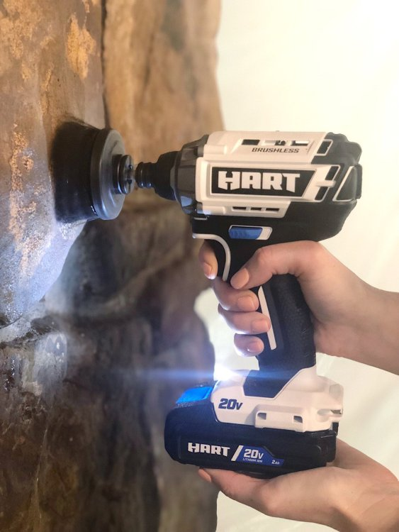 use drill to clean stone