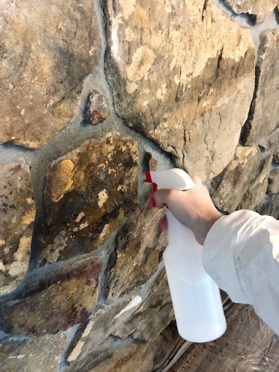 cleaning a stone fireplace with vinegar