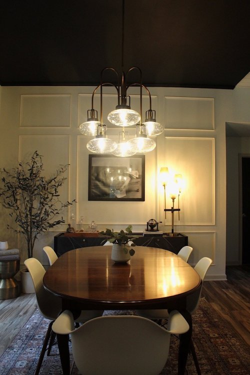 moody black and white dining room