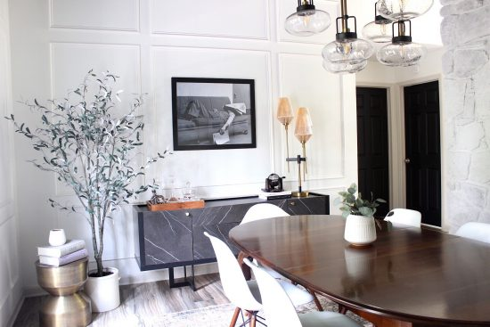 modern dining room with vintage table