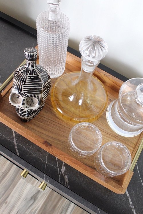 wood bar tray with modern decanters