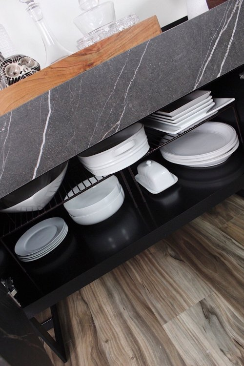 store holiday dishes in a sideboard