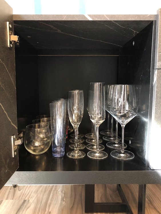 wine glass storage in sideboard