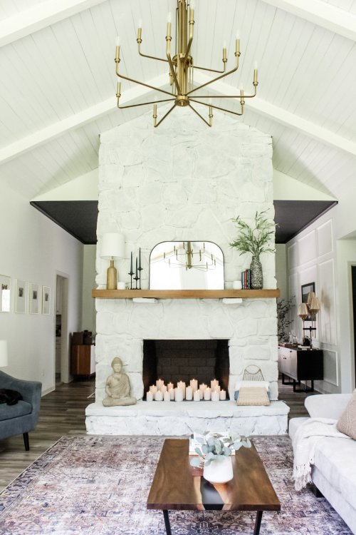 whitewash fireplace makeover