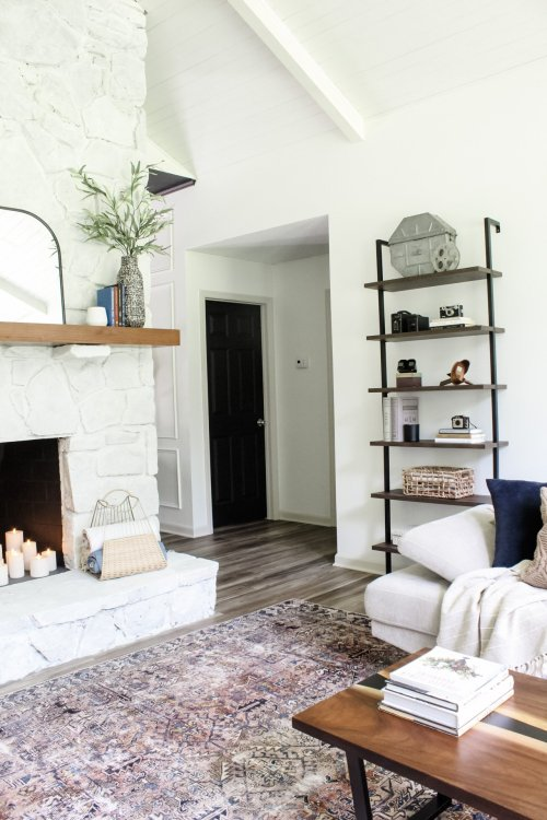 white stone fireplace living room
