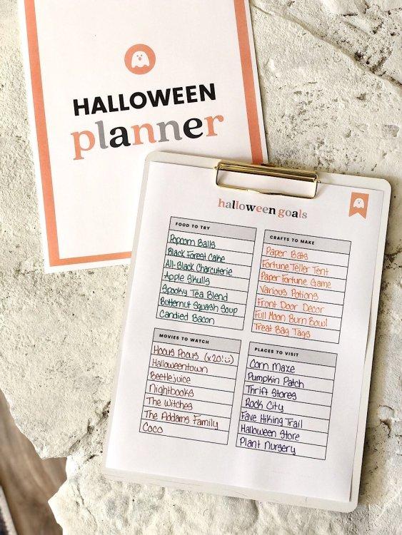 printable halloween planner