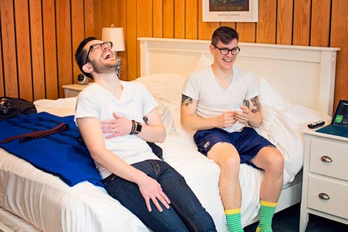 Leland Lodge | Fishtown Leland Hotel | Winter Wedding | Groomsmen Getting Ready
