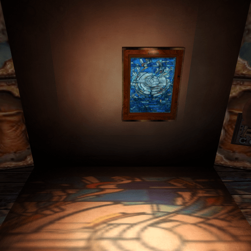 Second Life Stained Glass Wall Fountain - blue Marc Chagall-like image