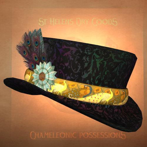 Black-on-rainbow plasma chiffon with peacock band