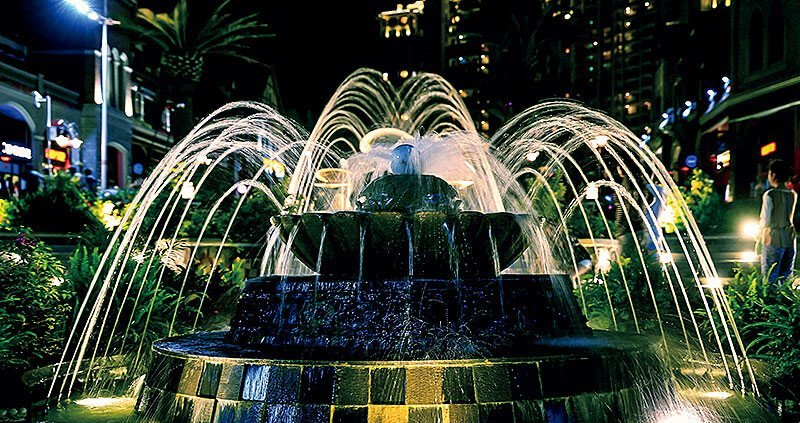 Fountain lighting design idea for LED high power projector underwater lights